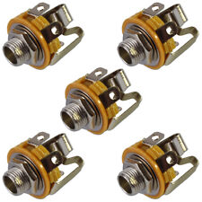 """6.35mm 1/4"""" Jack Stereo Switched Chassis Panel Mount Socket Connector x 5"""