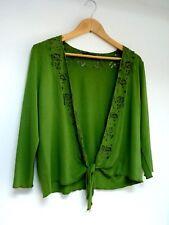 Ladies Lovely Windsmoor Green Beaded Tie Waist Length Over Cardigan Size S, Vgc