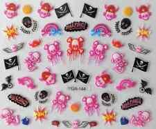 Nail art autocollants stickers ongles: Décorations Halloween têtes de mort