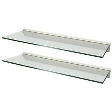 HARTLEYS PAIR/2x 80cm CLEAR FLOATING GLASS WALL SHELVES STORAGE/DISPLAY SHELF