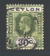 CEYLON 208 SG313 Used 1912-25 30c grn & vio KGV Wmk Mult Crown CA Die I Cat$4