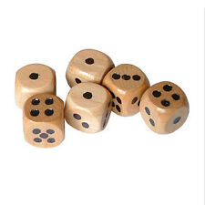 6Pcs*Wooden Dices for Traditional Board-Games Drinking Pub Natural Wood 1.6cm#