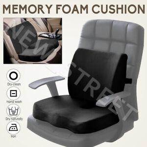 Memory Foam Seat Back Cushion Lumbar Pillow Support Waist Pain Relief Chair Car