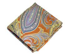Umberto Algodon Napoli Men's Orange Gold Tapestry Woven Pocket Square