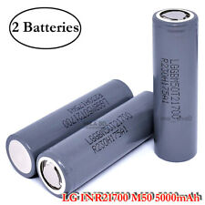 2x LG INR 21700 M50 M50T 7.27A 5000mAh Rechargeable High Drain Flat Top Battery