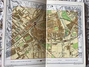 WIMBLEDON, TOOTING, MERTON, London Street Plan Antique map c1922 Colour