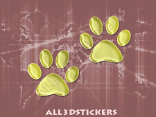 3D Sticker Decal Resin Domed Paws Adhesive Decal  Gold