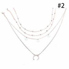 1PC Multi-layer Beads Moon Pendant Choker Necklace Chain Women Jewel Gold