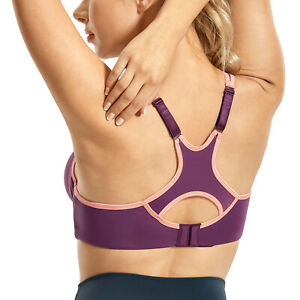 SYROKAN Women's Underwire Sports Bra Support High Impact Racerback Lightly Lined