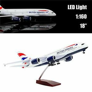 46cm 1:160 Scale Diecast Airplane Model British A380 with LED Light Super