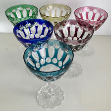VAL ST LAMBERT CASED CUT TO CLEAR CRYSTAL SAUCER CHAMPAGNES LACE FOOT SET OF 6
