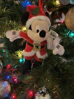 "Disney Parks Mickey Mouse Santa Plush Ornament Christmas Holiday 6"" - NEW"