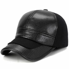 Luxury Men Hat Leather Casual Baseball Cap Black Adjustable Fitted With Ear Flap