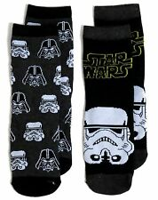 BOYS 2 STAR WARS STORM TROOPER DARTH VADER SOCKS UK SIZE 9-12 / 3-6 YEARS
