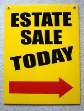 ESTATE SALE TODAY w/ARROW POINTING TO THE RIGHT 18x24 Coroplast Sign w/Grommets
