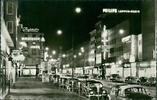 Ansichtskarte Mannheim Planken bei Nacht Werbung Philipps ...  (Nr.9006)