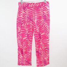 Lilly Pulitzer Capri Pants Womens 6 Vintage Pink Gecko Print Cotton Stretch