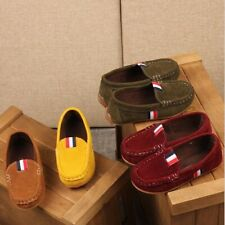 Kids Boys girl Slip On Flat Loafers Suede  Boat Casual Shoes Size Moccasins