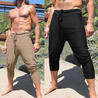 New Mens Slim Fit Retro Fisherman Shorts Pants Casual Solid Beach Yoga Trousers