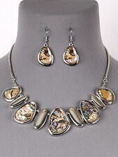 Abalone Shell Silver Tone Women Statement Necklace Earrings Fashion Jewelry Set