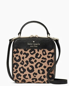 Kate Spade Daisy Vanity Crossbody Bag Leopard Print Top Handle Mini Tote New