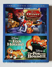 Disney Oliver and Company The Fox and The Hound Fox & Hound II Blu-ray DVD Pack