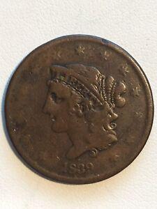 1839 Coronet Large Cent #616