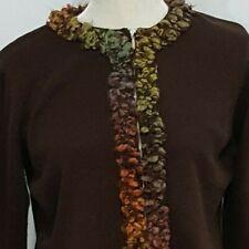 Talbots Cardigan Sweater L Women's Jacket Full Zip Brown Cotton Long Sleeve
