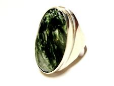 HANDSOME 925 STERLING SILVER AND GREEN JASPER OVAL MEN'S RING