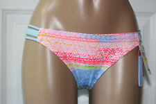 NEW Hula Honey Multicolored Geo Stappy Sides Hipster Bikini Swim Bottom L Large