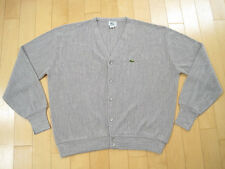 AWESOME!! 80s vintage LACOSTE GREY V NECK button up CARDIGAN SWEATER XL