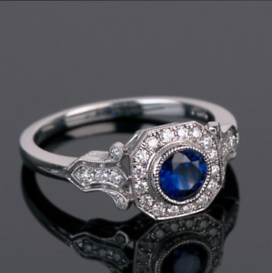 Art Deco 2CT Round Cut Blue Sapphire 14K White Gold Over Engagement Vintage Ring