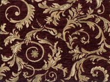 Drapery Upholstery Fabric Chenille Jacquard w/ Scrolling Leaves - Burgundy