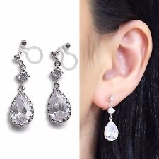 Bridal Cubic Zirconia Crystal Invisible Clip on Earrings Wedding Silver Clip-Ons