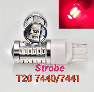 Strobe Flash T20 7440 W21W 992 SMD Red LED Bulb Rear Turn Signal Light M1 BC MAR