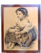 Superbe ancien Dessin signé DILLENSEGER Tableau Enfant lapin 64x52cm cadre bois