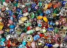 50PC LOT Multi-color European Style Lampwork Single Core Beads Silver Plated
