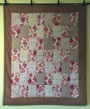 Quilted Lap Throw Flowers Brown Handmade Lap Quilt Cotton Pink Tan Quilt New