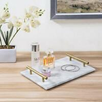 12-in Marble Stone Serving Platter with Brass Metal Handles/Jewelry Display Tray