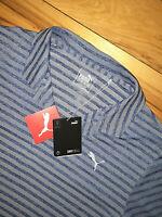 Mens Puma Golf Fairweather Short Sleeve Blue Polo Shirt Size Small S New NWT
