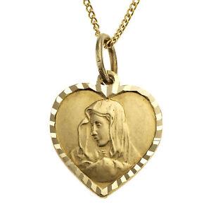 ZEEme for Kids Anhänger mit Kette 333 Gelbgold 36+2cm lang Herz mit Madonna