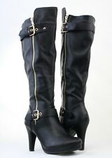 Women Sexy Knee High Faux Leather Boots Golden Decoration Buckle High Heels