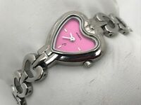 Fossil Ladies Watch Silver Tone Pink Face Heart Shape Analog Wrist Watch WR30M