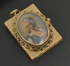 14k Yellow Gold Antique Solid Book Locket With Enamel -Pendant / Charm  (CW257)