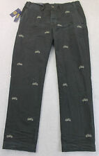 RALPH LAUREN POLO Men BLACK EMBROIDERED MOTORCYCLE CHINO PANTS NWT 36 x 30  $125