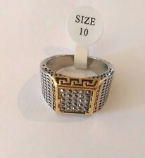 Stainless Steel men's ring Greek key design & grey cubic zirconia stones:size 10