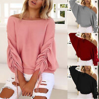 Damen Pullover Pulli Fledermaus Ärmel Batwing TOP Oberteil Shirt Longshirt BC421