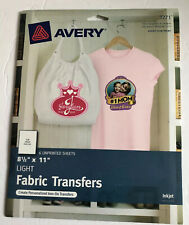 Avery Printable T-Shirt Transfers, For Use on Light Fabrics, 6 Paper Transfers