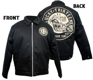 Lucky 13 Jacket Lined Work Mechanic Embroidered Black Sin 2XL Motorcycle