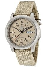 Seiko 5 SNK803 SNK803K2 Men's Beige Fabric Band Military Dial Automatic Watch